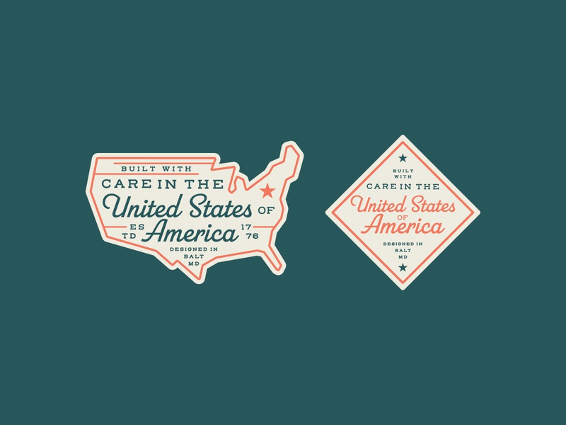 Made in America branding design vector typography stars and stripes stars red white and blue americana american states logo badge united states of america freedom usa america