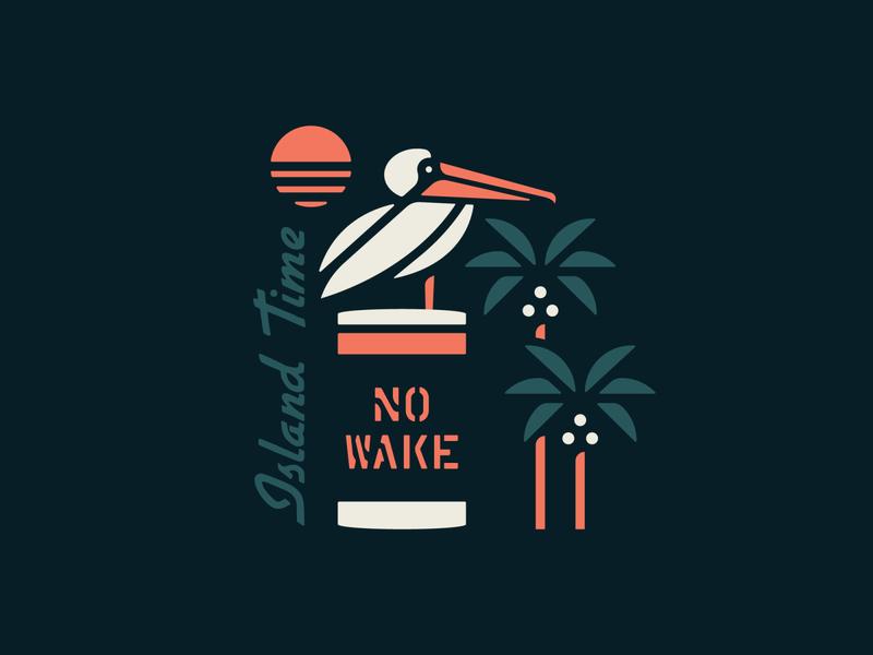 No Wake Zone logo design illustrator graphic clean brand palm flat bird sunset palm trees typography surfing island surf beach design vector illustration branding logo