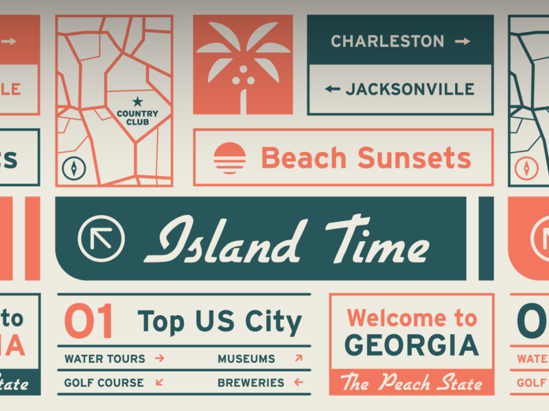 Welcome To Georgia illustration travel app road sign road trip signs travel design vector typography directions map roadmap road logo branding