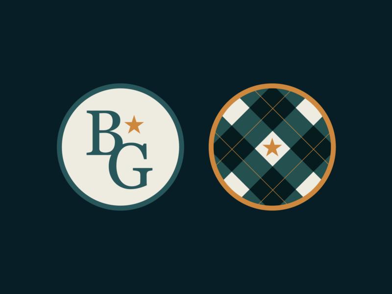BG Coasters logotype monogram logo monogram star restaurant logo icon branding concept pattern plaid badge branding design brand identity brand stars coasters design brand design branding