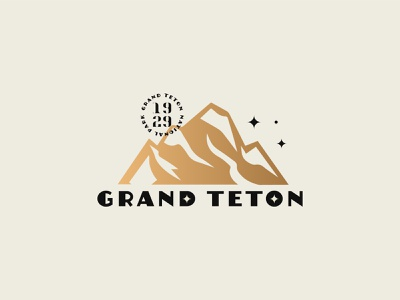 Grand Teton badge stamp stars typogaphy type logos parks nasa national park park mountain gold foil design vector illustration branding logo