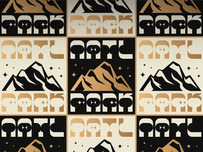 NASAtional Parks park gold black and white repeat pattern nasa space type typography stars mountain design vector illustration branding logo national parks print gold foil national park pattern