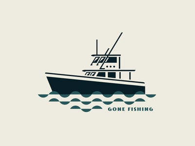 Gone Fishing boats boat logo fishing t-shirt design fishing logo fisherman fishing rod icon elegant badge design logo boating vector branding illustration fish logo water fish boat fishing