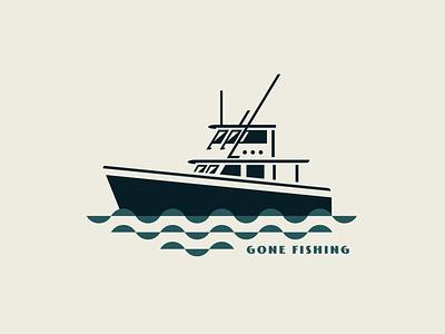 Gone Fishing boats boat logo fishing t-shirt design fishing logo fisherman fishing rod icon elegant badge design logo boating vector branding illustration fish logo water fish boat fishing
