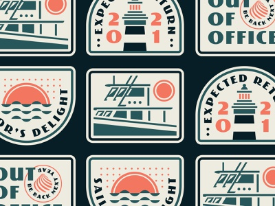 Out of Office boat logo boating shellfish patches badge logo badges lighthouse nautical sun water boat shell badge design typography illustration vector logo branding