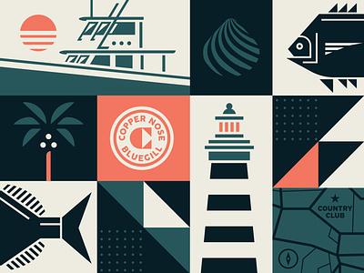 Coastal Collage brand design illustration vector logo branding badge lighthouse nautical tropical boat shell fish collage map beach coastal