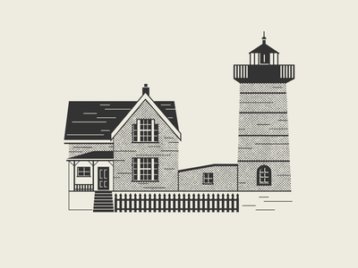 Halftone Series – Nubble Lighthouse black and white illustration illustration art simple illustration house illustration illustrator flat illustration elegant vector halftones flat simple windows house lighthouse logo black and white halftone lighthouse texture design illustration