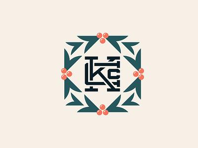 Holiday Wreath Logo clean badge typography design icon elegant simple flatdesign logo branding illustration flat vector christmas card christmas