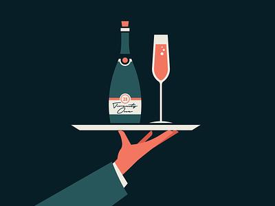 Cheers to 2021 illustration art illustration design flat illustration minimalistic minimalist simple restaurant design flat design flat vector illustration shapes minimal server champagne wine glass wine label vector illustration 2021
