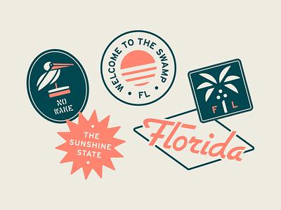 Welcome to the Swamp typeface font clean minimal illustrator flat badge typography design illustration vector logo branding sticker mule sticker design tropical sunset florida coastal stickers