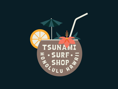 Tsunami Surf Illustration hibiscus brand identity brand design logo drink lemon flower tropics surf island hawaii coconut tropical flat clean badge design illustration vector branding