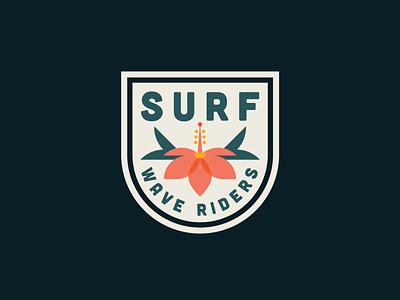Surf Badge floral design patch badge design badge logo tropical flower floral island surf elegant flat clean badge design illustration vector branding logo