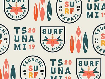 Surf Repeat Pattern badge logo badges hawaii islands waves flowers floral tropical island surf beach elegant flat clean badge design illustration vector branding logo