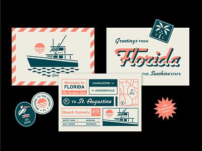 Florida Postcard Series flat clean design typography illustration tropical ocean waves print design stickers florida fishing postcard design postcard