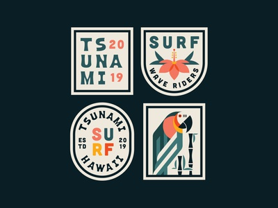 Surf Patches brand identity design illustration flat clean logo vector branding crest flower surf typogaphy patch design badges badge design badge patch patches