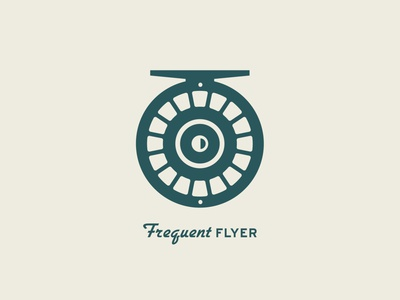 Frequent Flyer icon flat clean illustration vector logo design outdoors fishing logo fisherman branding logo fish logo fish fishing rod fishing fly fishing
