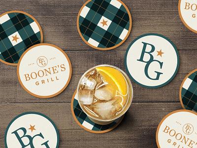Boone's Grill Coasters typography monogram design monogram logo monogram logo design logotype golf club drink clean elegant design vector logo branding restaurant golfing golf coaster design coasters mockup
