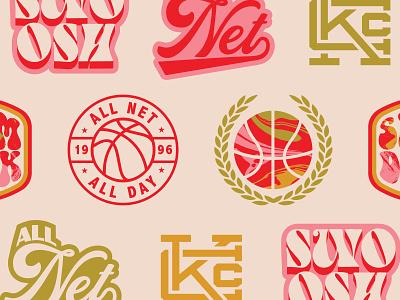 Basketball Branding Assets hippy hippie branding badge logo badge vintage bold texture slam dunk retro groovy basketball