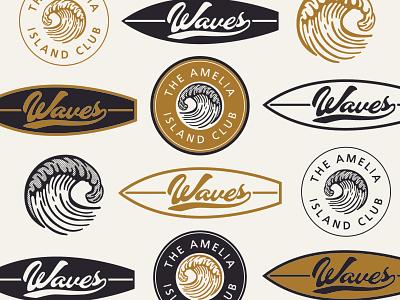 Waves –Concept 3 retro vintage texture coaster sticker stickers badge design logos black and white wave waves surfing circle logo lockup badge logo halftone surf beach