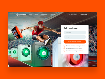 Repairman 🏃♂️ design branding repair service orange repairman graphicdesign idea repair figma web webdesign uidesign ux ui interface