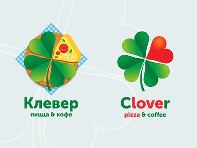 Pizzeria Clover icons logotype branding pizzeria coffee logo pizza love clover