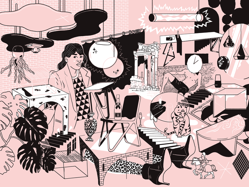 NEO/CRAFT Berlin branding rosé model drawing cat blackandwhite furniture illustration