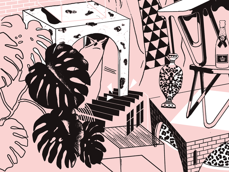 NEO/CRAFT Berlin plant monstera furniture illustration cat blackandwhite branding