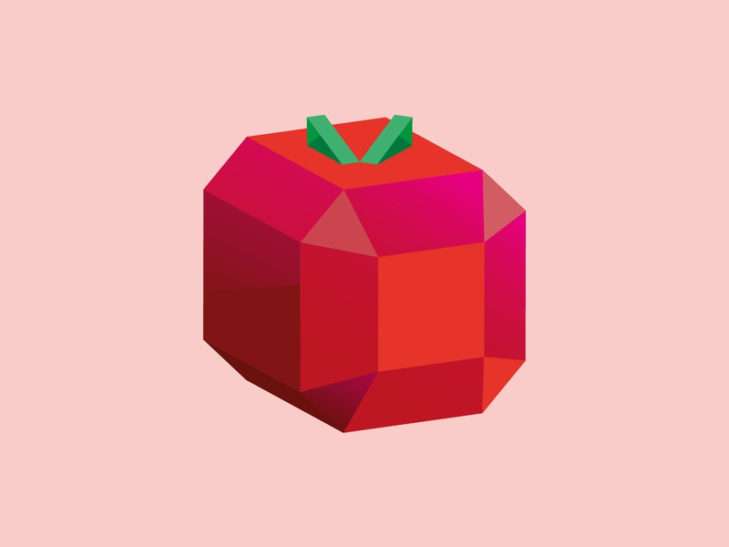 Low Poly Apple gamedesign simple apple augmented reality ar vector 3d