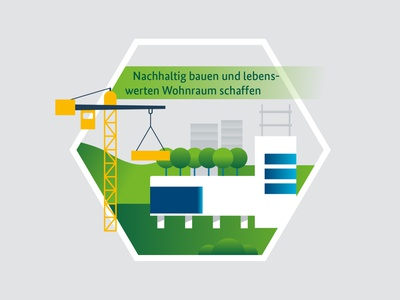 Illustrations for Smart Governance illustration vector berlin yellowtoo house green trees tech building future