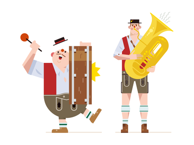 People of Oktoberfest berlin yellowtoo vector illustration folks drum trumpet bavaria character germany band music oktoberfest