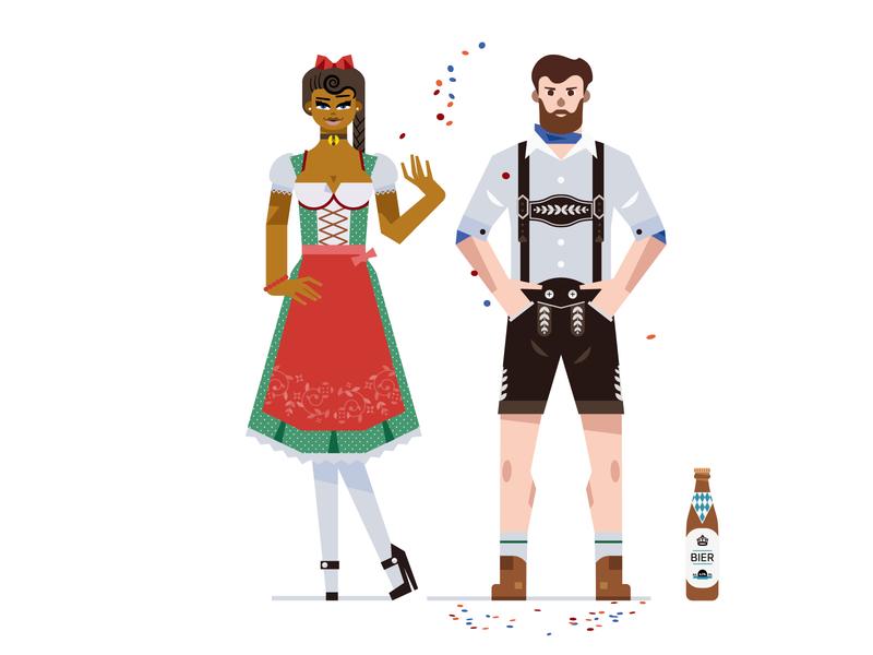 People of Oktoberfest europe beerpong jodel dirndl vector munich lederhose couple yellowtoo oktoberfest beer germany