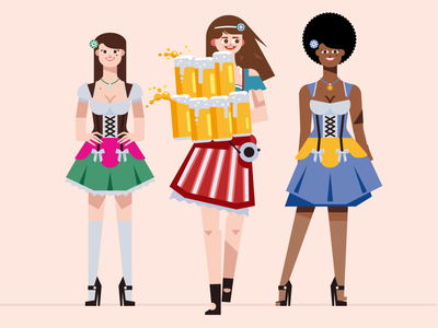 People of Oktoberfest munich germany dress woman dirndl illustration bavaria service beer oktoberfest
