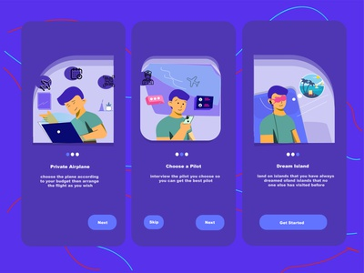 private plane ui flat animation typography onboarding app ui  ux vector ilustrator illustration