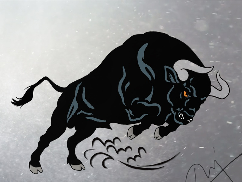 Angry bull photoshop art digital painting