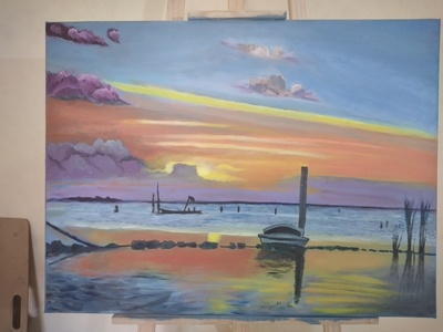Oil Painting Sunset sketch sunset oil on canvas oil painting oil paint oil art drawing