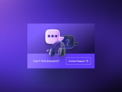 Contact Support 3D Icon message bubble service render question message illustration icon headset glow dark customer contact call center purple blue blender ask 3d