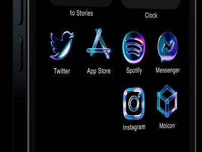 Glass icons for iPhone ios14 app apple mobile ui design render iconset messenger app store twitter spotify instagram premium dark gradient 3d glass icons iphone