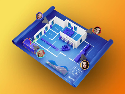 Visual Factory - Digital Twin animation layout space office statistics forklift factory walls measurements blueprint collaboration digital twin 3d sensors iot engineering building floor plan redner blender