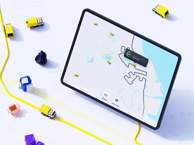 Reycycly - Waste Management iOS app tablet management fleet navigation map yellow collect recycle trash bin garbage waste 3d motion design ui ux branding blender animation