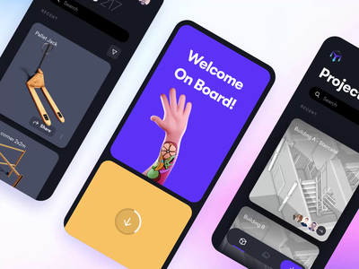 App onboarding login animation mobile illustration minimal assets projects dark password shield privacy building architecture 3d hand welcome cad bim splash screen onboarding app
