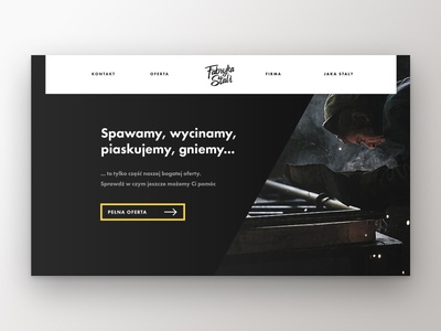 Fabryka Stali steel welding top bar header hero concept bootstrap design webdesign