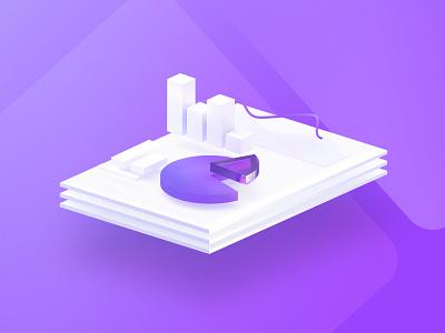 Statistics illustration 3d gradient paper icon info graphics isometric charts data purple illustration statistics