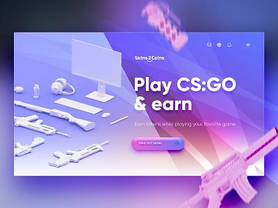 3d CSGO landing page landing ui ux steam gradient 3d gaming game esport design csgo counter strike