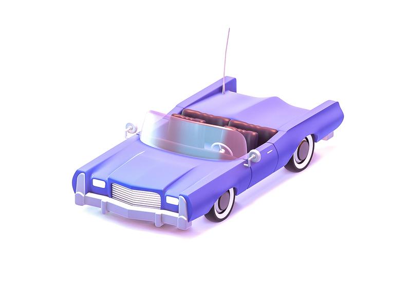 Cadillac Eldorado Fleetwood branding eldorado cabriolet wheel retro render old purple illustration drive vehicle car cadillac blender 3d