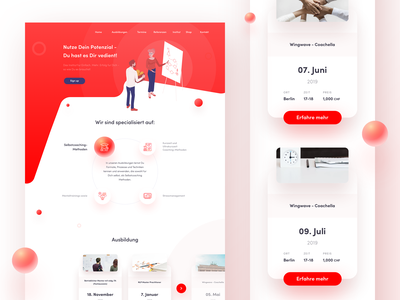 Training courses website vector icons circles creative character flat white illustration simple website ux ui typography elegant red landing page sphere gradient colors clean