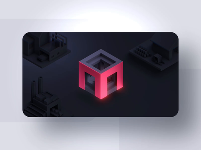 Moicon - Gamified Factilty Management gamified warehouse factory cube m hexagon logo reveal web design ui dark stats facility data app logo presentation product design logo animation branding 3d