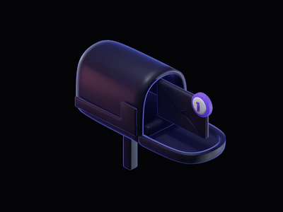 Mailbox - 3D Animatied Illustration mail esport post newsletter illustration clean isometric branding icons render c4d blender glow dark iconography email mailbox animation icon 3d