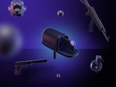 3D Animated Icons twitch gaming newsletter post mailbox 3d animation blender branding clean csgo dark esport glow guns ak47 grenade pistol icons render