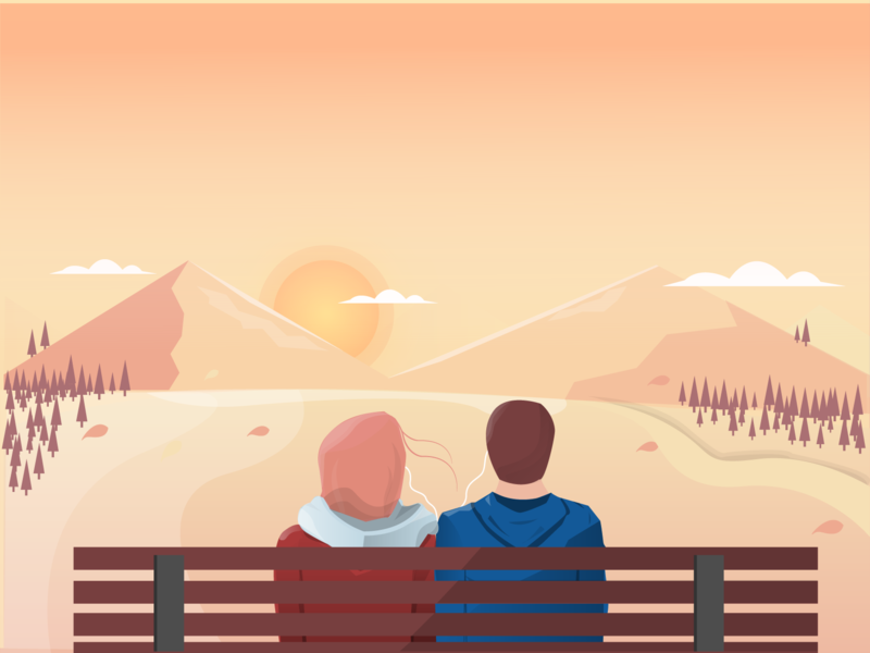 Blissful Evenings flat design vector illustration