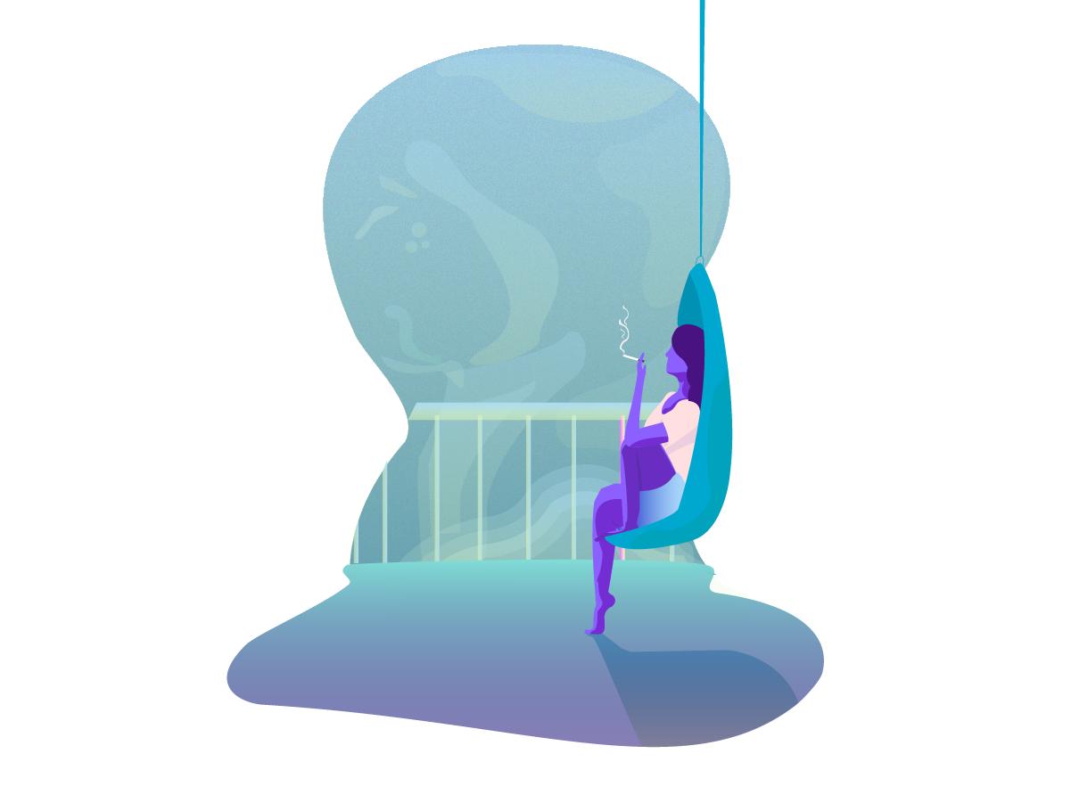 Silence flat illustration design